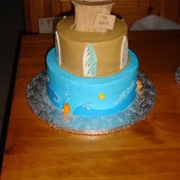 Surf's Up This was actually a cast party cake for our Middle school students involved in the musical Wipe Out. Done in buttercream with fondant...