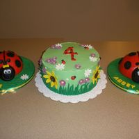 Ladybugs In The Garden These were for twins turning 4. They each got their own cake and a big cake for everyone else. I also made cupcakes for their party at...