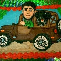 A Man, His Dog, His Jeep 3-D DETAILS OF THE B-DAY BOY & HIS DOG RIDING IN HIS BELOVED JEEP.( I SEEM TO HAVE A COLLECTION OF LARGE HEADS POKING OUT OF VARIOUS...