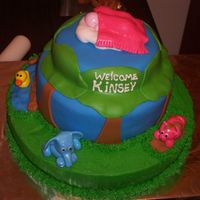 "Animal Baby Shower Cake This cake was alot of fun to make. It has an elephant, a piggy rolling in ""mud"", a duck in the pond then a frog sitting on a rock..."