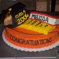 "Graduation Cake I had alot of fun making this cake. Made for a friend of mines daughter. the bottom is a basketball, then the graduation hat, and a ""..."