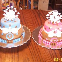 Birthday Cake & Cancer Survivor Celebration Cake For 2 Sisters  The Pink cake was made for a young girl who turned 15, and then the blue cake was for her little sister who has been fighting cancer and is...