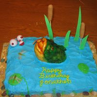 Fishing fish is rice crispy covered in fondant hand painted