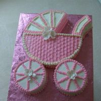 Baby Carriage 1st baby carriage cake. Mother-To-Be loved it and I was pretty happy with it myself. 12-inch round for the carriage and (2) 6-inch rounds...