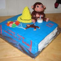 Curious George Cake Got many of these ideas from CC. George and the yellow hat are rice krispies covered in mmf.