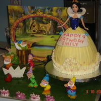 Snow White French vanilla cake with Duff's doctored buttercream icing. Snow White is sitting on a motorized display that turns her around. I took...