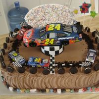 Nascar Jeff Gordon this is a chocolate cake that I made for my grandson's 5th b-day. He loves Jeff Gordon. The car turns as it is sitting on a display...