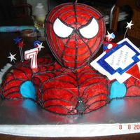 Spiderman First spiderman cake I have done. First time doing a RKT head before. All buttercream that has been air dried and then painted red so there...