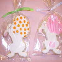 Bunny Holding Decorated Eggs  NFSC, MMF. Here are a few cookies with decorated eggs. You can't see the detail of the bunny's face in this photo, but you can in...