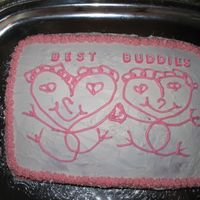 Best Buddies Valentine Cake Made this for a high school club that deals with the physically and mentally handicapped! I started to run out of icing and at 2:30 in the...