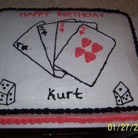 Poker B-Day Cake  This is the 2nd cake I have done. I was not all impressed with my work this time. After I got it done I put my arm right in the middle so,...