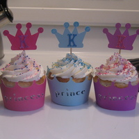 Princess And Prince Cupcakes These were for a girls birthday. There were a couple of boys invited so I canged the word on the wrapper from Princess to Prince.