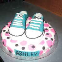 Converse Cake Converse shoe cake for my daughter's 13th birthday party. Cake and shoes covered in MMF.