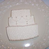 Wedding Cake Cookie my string work needs a little help on this cookie other than that a pretty cookie thanks for looking