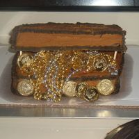 Treasure Chest   Thanks for all the advice on making my first 3 d cakes. My son loved his treasure chest
