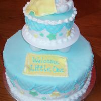 Selinas Baby Shower Cakes are decorated with buttercream and toped with MMF. Decorations are also made with MMF.