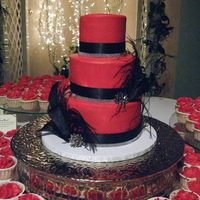 "Young Wedding This bride's wedding style was ""Classy Goth"". Red buttercream, black ribbon and feathers, blink from craft store, brooches (..."