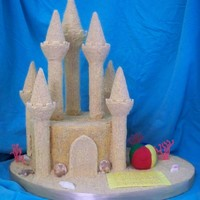 Sandcastle Cake BC cake covered in graham cracker crumbs, with the Wilton castle kit covered in RI and graham cracker crumbs. Assorted decorations in...
