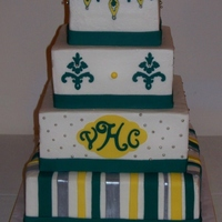 Square Jade/yellow/silver Wedding Cake Buttercream cake with fondant cutouts, mostly using the cricut cake.