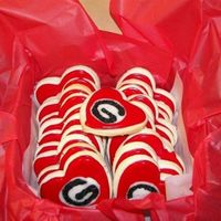 Uga Valentines Cookies These are valentine cookies that a client sent to their child, a student at UGA. They are a butter almond-vanilla shortbread with almond-...