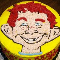 "Alfred E. Neuman From Mad Magazine This was an 8"" yellow butter cake with fluffy vanilla bean buttercream. It was made for a 13 year old boy who was obsessed with MAD..."
