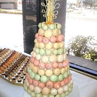Typical European Croquembouche This is called a croquembouche (kroh-kem-BOOSH) made of gerbet macaroons which are made from powdered sugar, egg whites and almond meal....