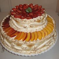 Strawberry & Nectarine Tres Leches (3 Milks) Wedding Cake. This was a last minute order cake by a customer who wanted this type of cake. I told him that it might melt a little if I didn't...