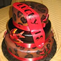 "Lucky 18 Birthday Cake This cake was for a ""rock a billy"" theme 18th birthday. The cheetah print, nautical stars and swallows were airbrushed. I used an..."