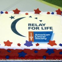 Relay For Life Cake   This cake was done for my chiro's office with an edible image and mmf stars.