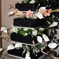 Square, Black Wedding Cake With Silk Flowers