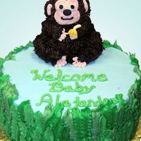 Monkey And Banana Cake Monkey was made from the mini stand-up bear pan. The banana is mmf. Vines on sides made with several leaf tips. Really cute cake. I got the...
