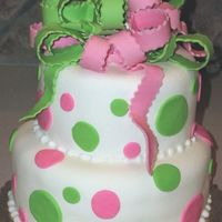 Pink And Green Dots And Bow   Bow and Dots made from mmf. Covered in white mmf. Fun cake!