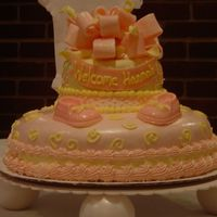 My First Fondant Cake  This was for my best friends baby shower. I am so proud of this cake. It was my first fondant cake, fondant bow, banner. It's what...
