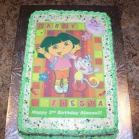 Dora Cake Chidren love DORA!!!!!Easiest Dora cake to make......find a fun picture, convert to an edible image, and place on top of the cake!