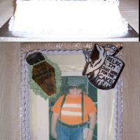 Over The Hill Edible image - fondant tombstone and coffin. All other deocrations are plastic.