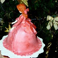 Pink Christmas Dame - Back View Back of dame