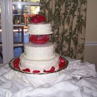 3-Tier Wedding Cake With Swiss Dot Design I used the Wilton fluted bowl to separate the top 2 tiers. This was my first wedding cake. It was red velvet with cream cheese icing.