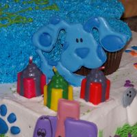 3Rd View Of Blues Clues Cake Close up of blue, presents are candles. Thanks so much to CC.com friends for inspiration!!