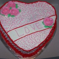 Valentine's Day 2007 My first decorated Valentine's Day cake (I've been decorating for 3 months). All buttercream icing.