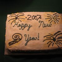 New Years Cake Unfortunately I did not practice my cursive before doing the writing for this cake. :(