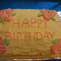 Birthday Cake My first ever attempt at buttercream roses, and my first real try and cake decorating!
