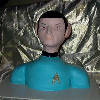 Spock This cake was done with Marshmallow fondant. It is my son-in-laws birthday cake. Made for the coming out of the new movie.