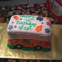 Volkswagen Bus Used a loaf pan and marshmallow fondant. Another one my grandkids, Sophia and Lydia, helped with the design work. My son's b-day theme...