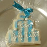 Msb Blue and white wedding cookie. Matched their wedding cake until I ended up going to drop off the cake and they placed roses on them. Sure,...