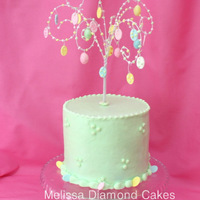 "Easter Tree Cake!  6"" cake frosted with buttercream and Easter tree made from floral wire with fondant/gum paste ornaments :0) -- You can copy and paste..."
