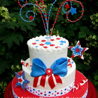 Happy 4Th Of July! Just playing around with some design ideas for the 4th! Buttercream tiers with fondant and gum paste accents. Thanks for looking!!
