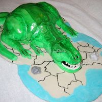 Trex Ball pan mold for body, fondant head, tails, legs and arms. My boyfriend wanted to make a caveman, but after a few attempts, settled for...