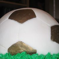 Soccer Ball Cake for my nephew's soccer team. I used the sports ball pan for the first time. I'll add more batter next time!