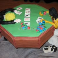 Poker As A Metaphor? Groom's cake for my friends. Fondant/gumpaste mix for the figures, gumpaste chips and cards. I'm so happy that this cake made it...