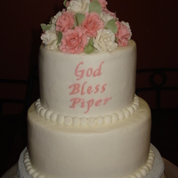 Christening Cake   For my granddaughter's baptism. Buttercream icing with fondant roses.